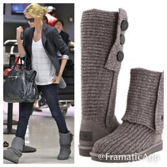 UGG Classic Cardy Grey Boots (Size 8)